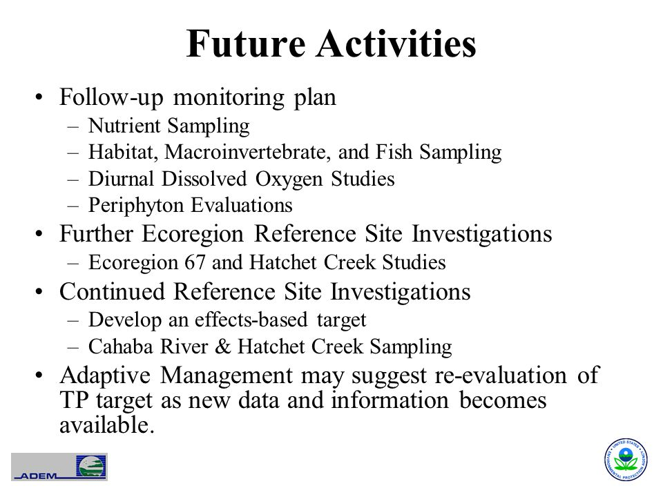 Future Activities Follow-up monitoring plan