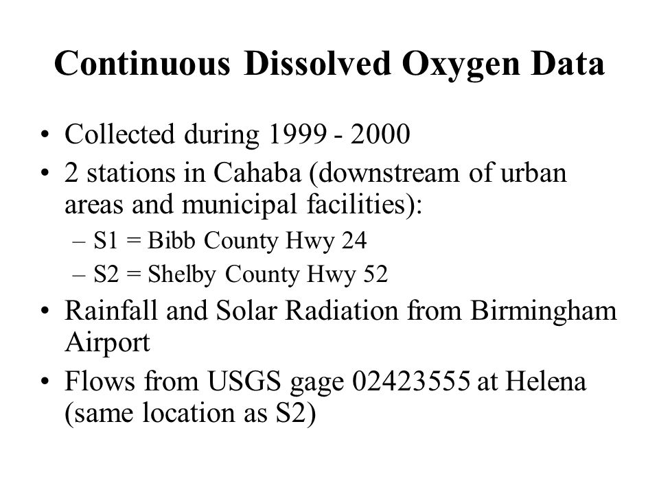 Continuous Dissolved Oxygen Data