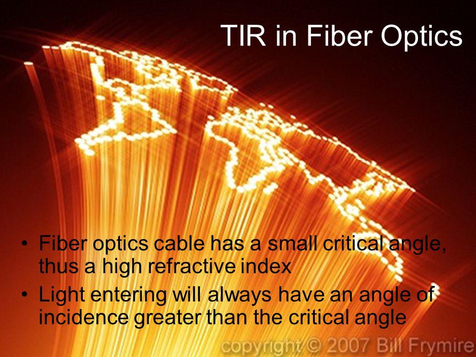 TIR in Fiber Optics Fiber optics cable has a small critical angle, thus a high refractive index.
