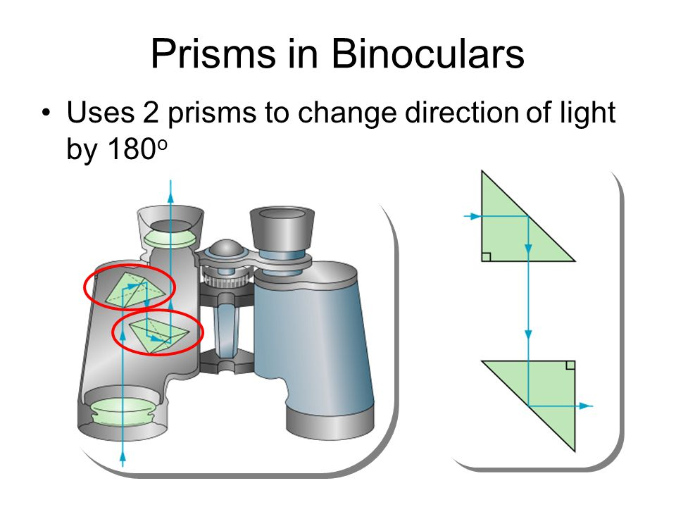 Prisms in Binoculars Uses 2 prisms to change direction of light by 180o 40