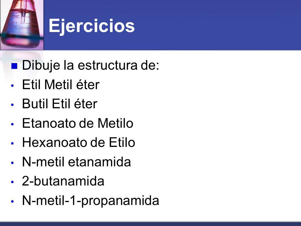 Ejercicios Dibuje la estructura de: Etil Metil éter Butil Etil éter
