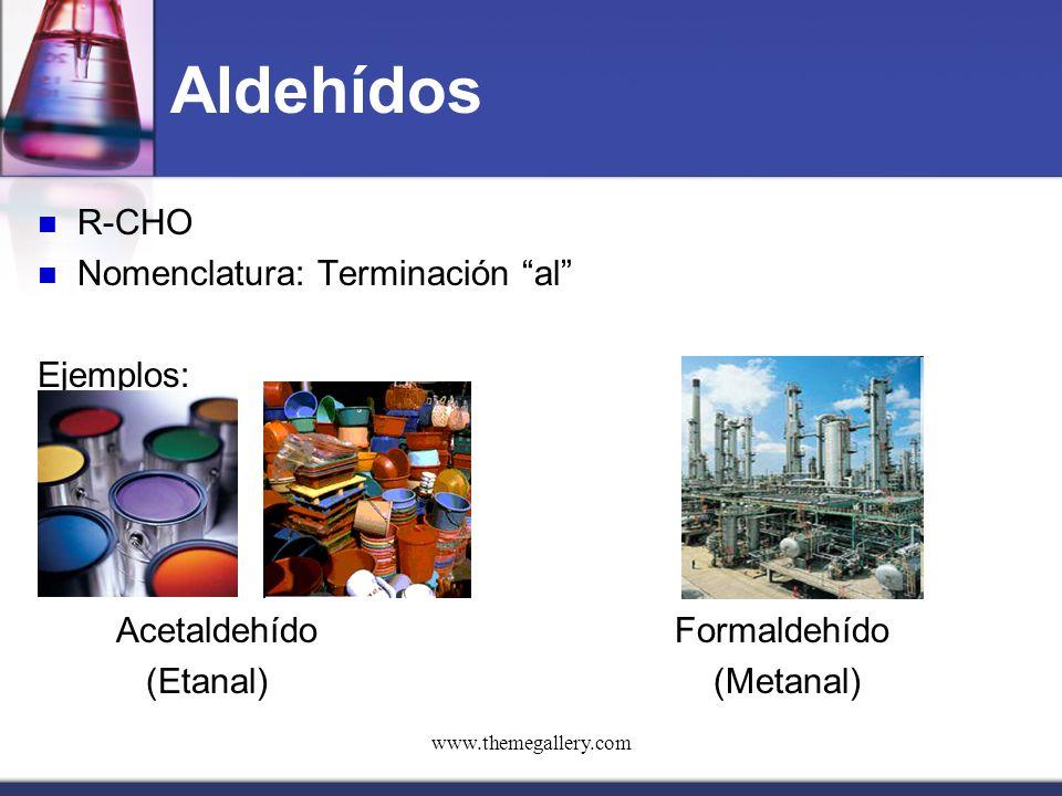 Aldehídos R-CHO Nomenclatura: Terminación al Ejemplos: