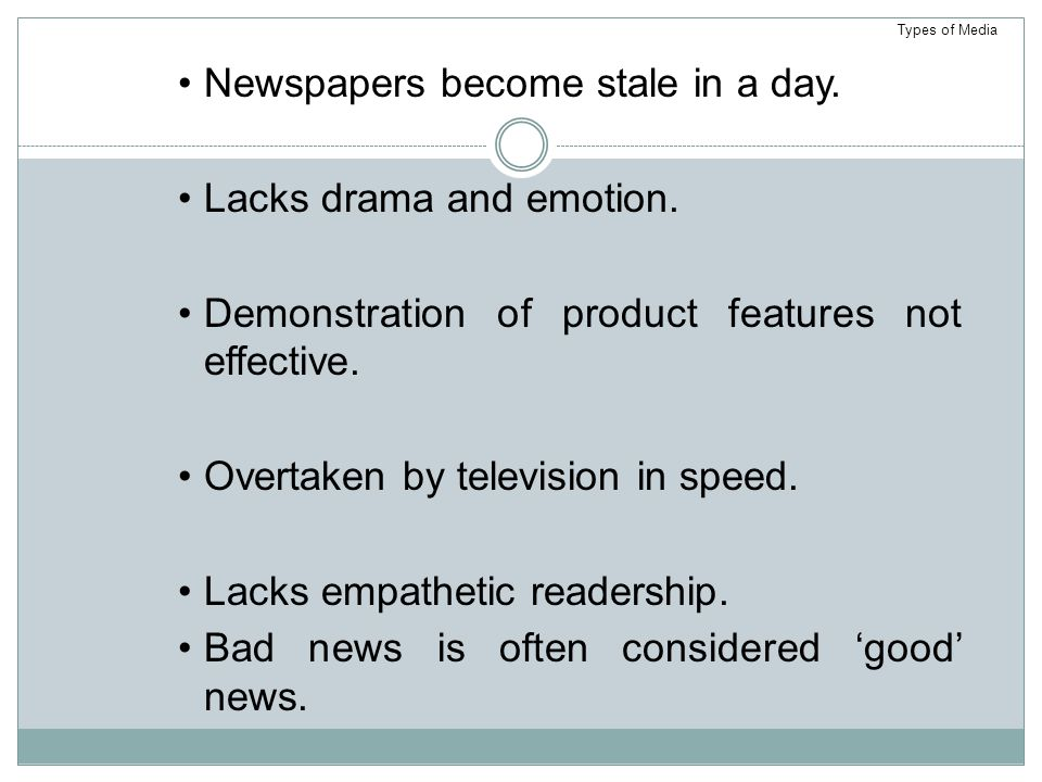 Newspapers become stale in a day. Lacks drama and emotion.