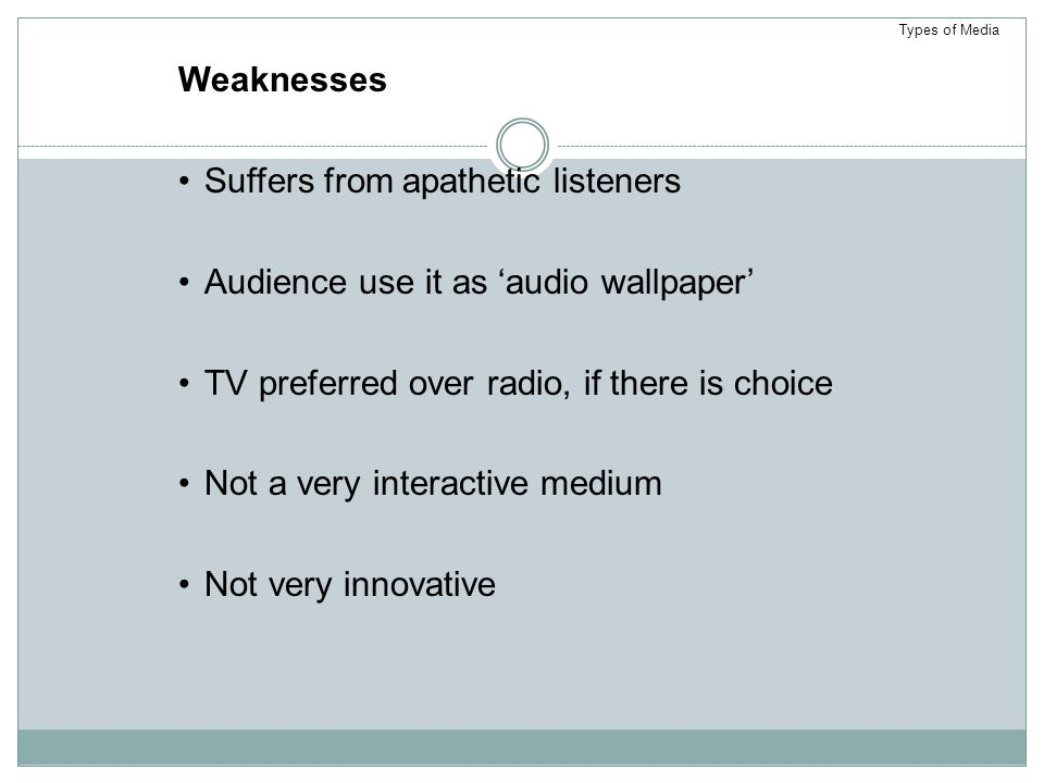 Suffers from apathetic listeners Audience use it as 'audio wallpaper'