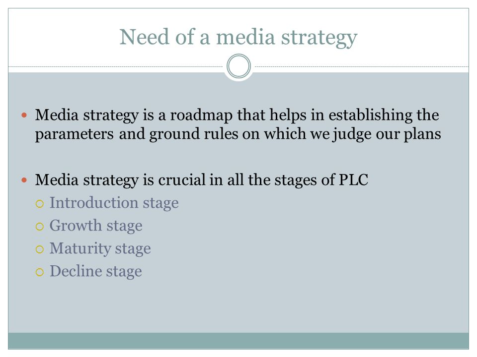 Need of a media strategy