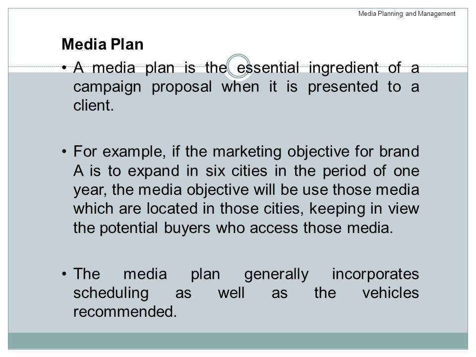 Media Planning and Management
