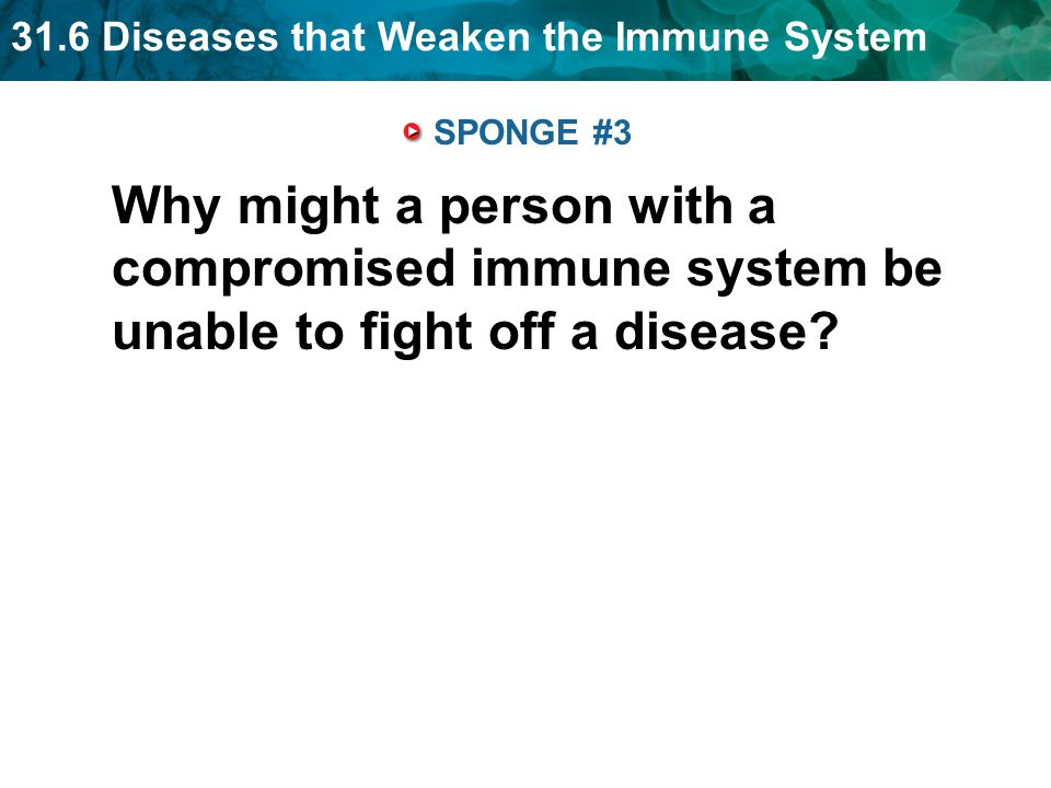 SPONGE #3 Why might a person with a compromised immune system be unable to fight off a disease