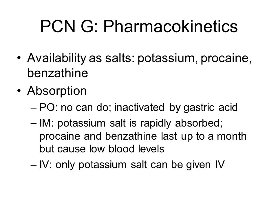 PCN G: Pharmacokinetics