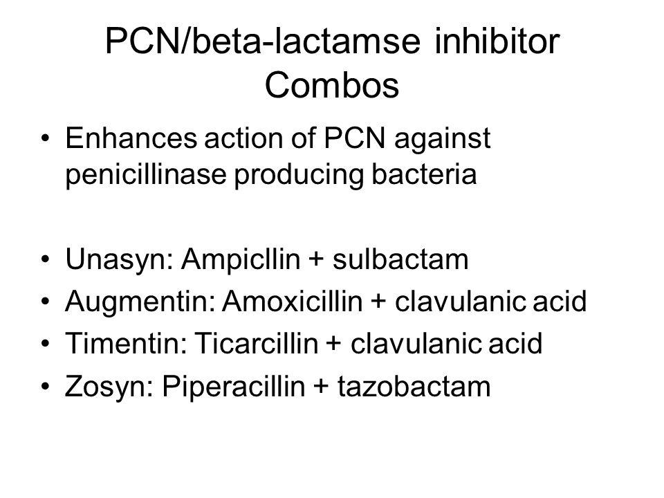 PCN/beta-lactamse inhibitor Combos