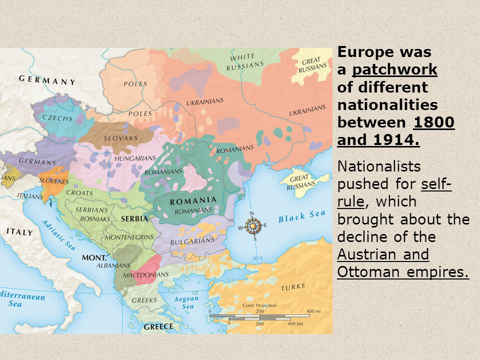 Europe was a patchwork of different nationalities between 1800 and 1914.