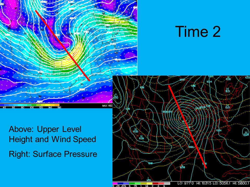 Time 2 Above: Upper Level Height and Wind Speed