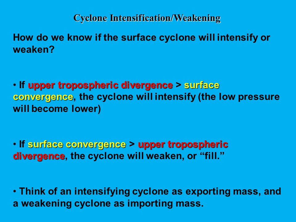 Cyclone Intensification/Weakening