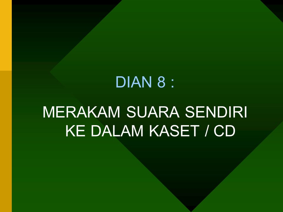 MERAKAM SUARA SENDIRI KE DALAM KASET / CD