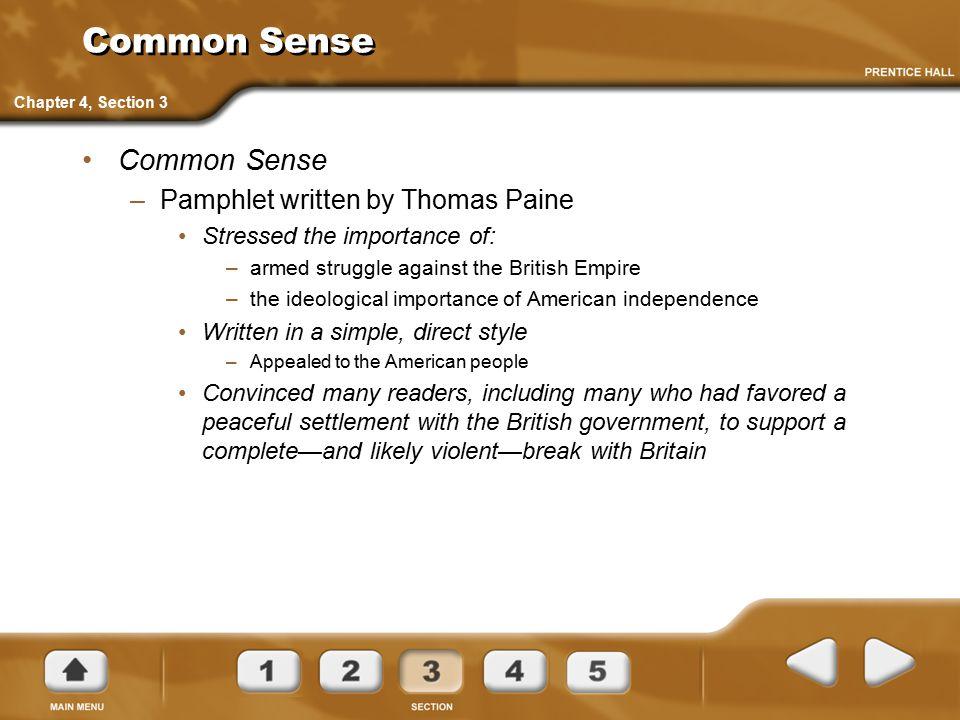 Common Sense Common Sense Pamphlet written by Thomas Paine