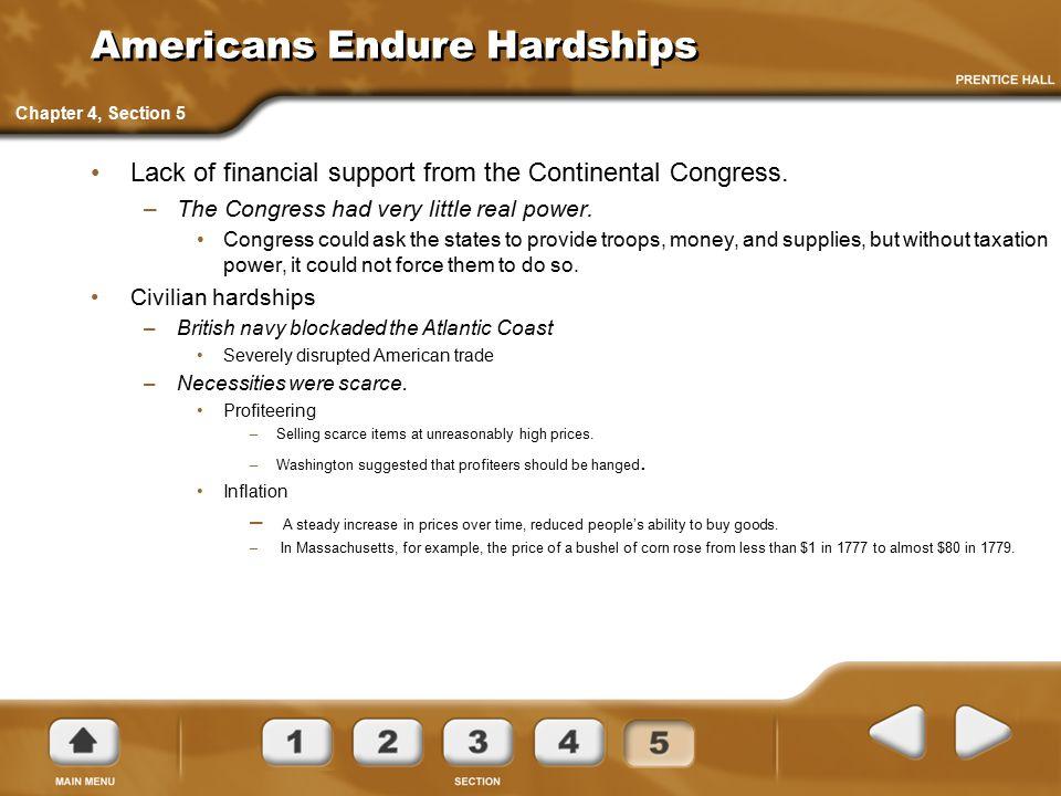 Americans Endure Hardships