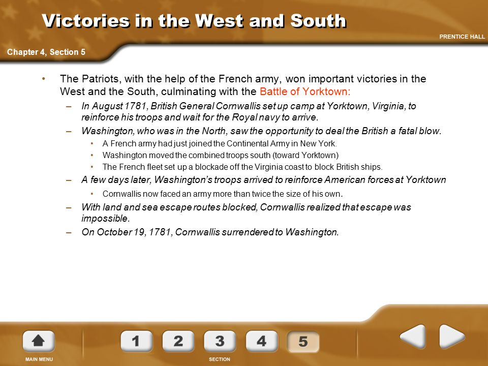 Victories in the West and South