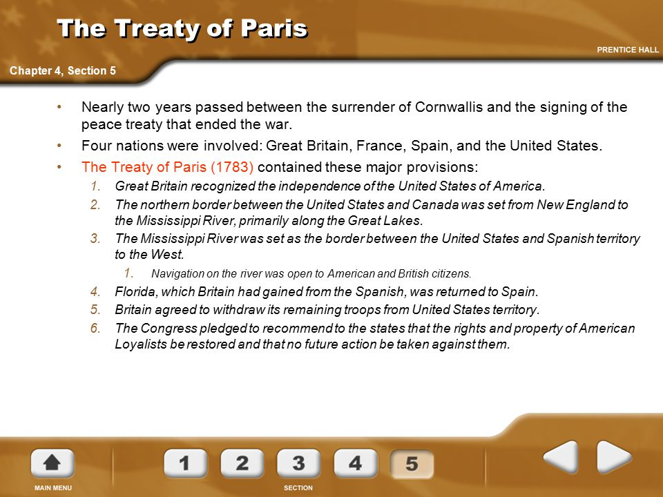 The Treaty of Paris Chapter 4, Section 5.