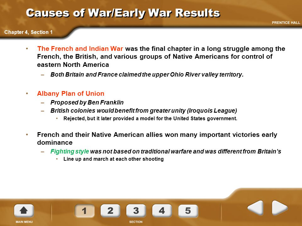 Causes of War/Early War Results