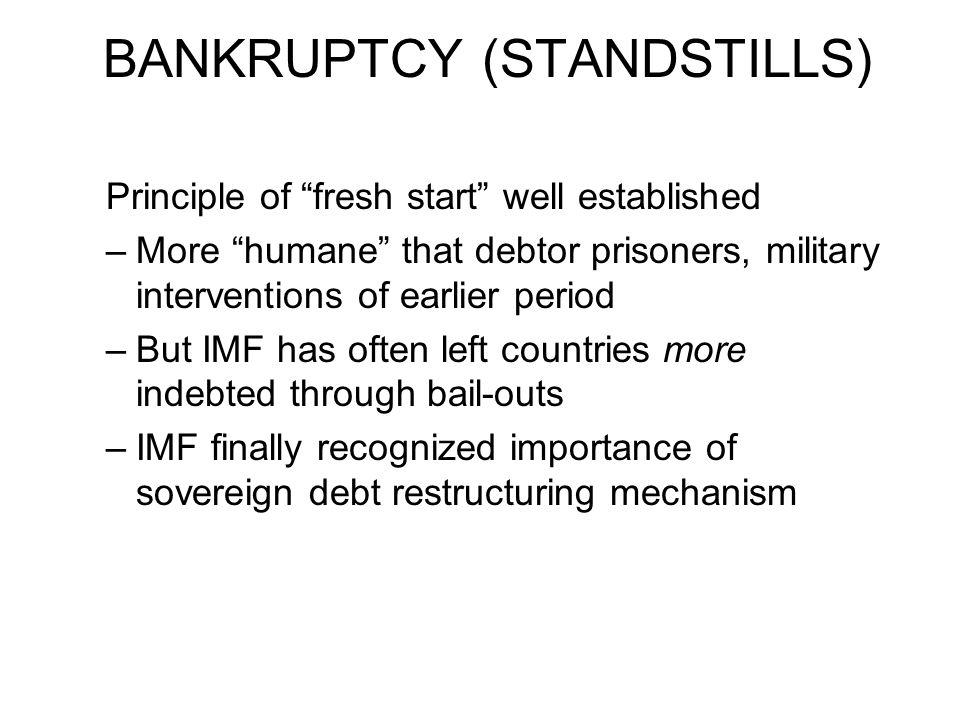 BANKRUPTCY (STANDSTILLS)