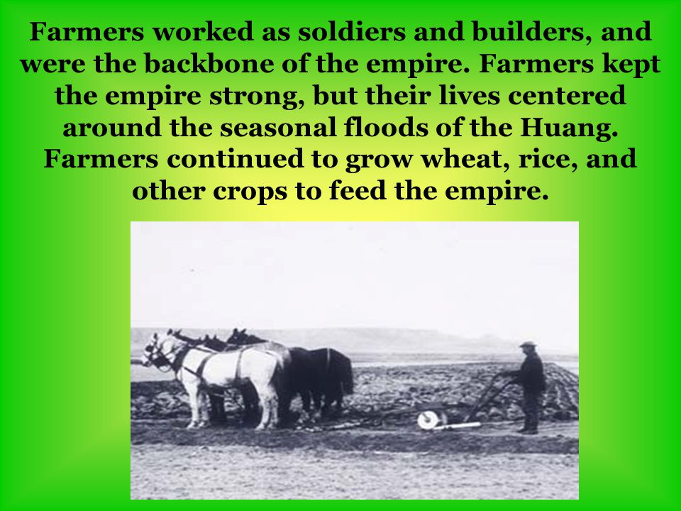 Farmers worked as soldiers and builders, and were the backbone of the empire.