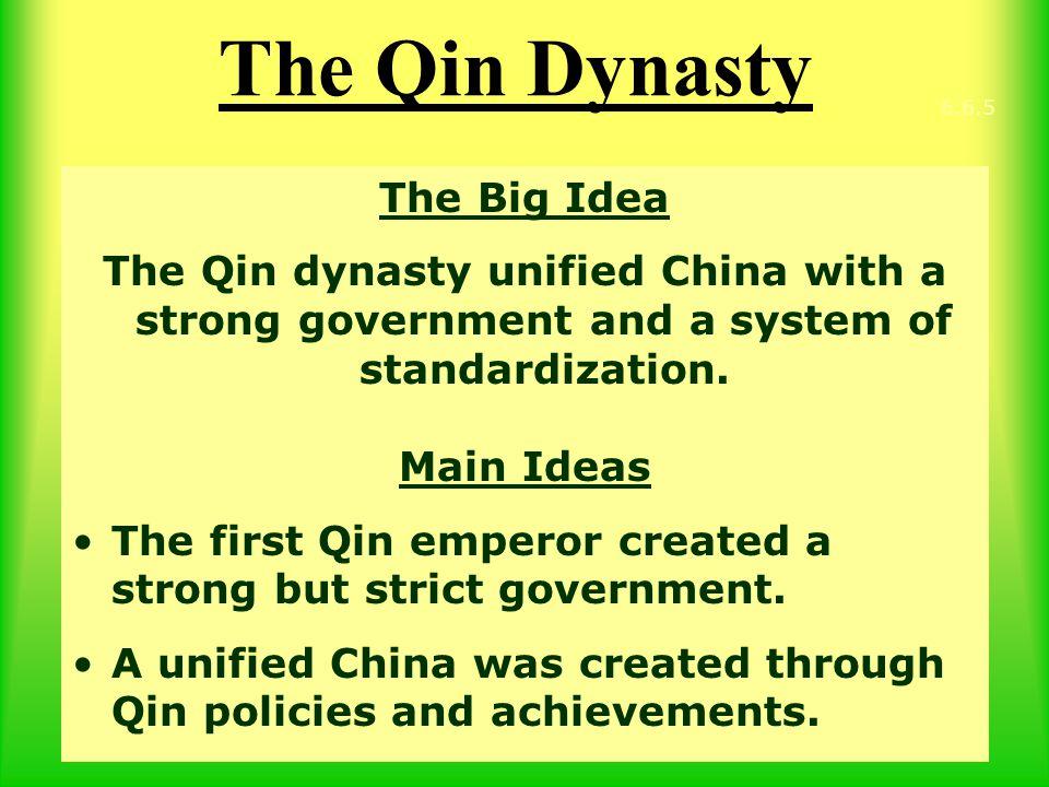 The Qin Dynasty The Big Idea
