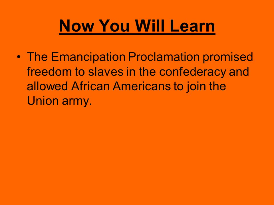Now You Will Learn The Emancipation Proclamation promised freedom to slaves in the confederacy and allowed African Americans to join the Union army.