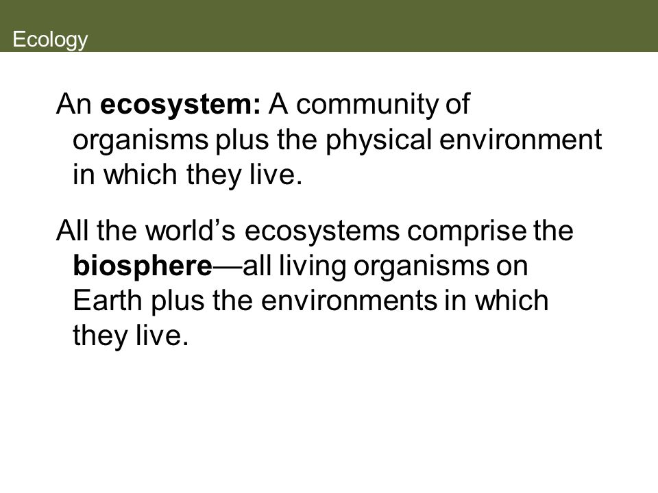 Ecology An ecosystem: A community of organisms plus the physical environment in which they live.