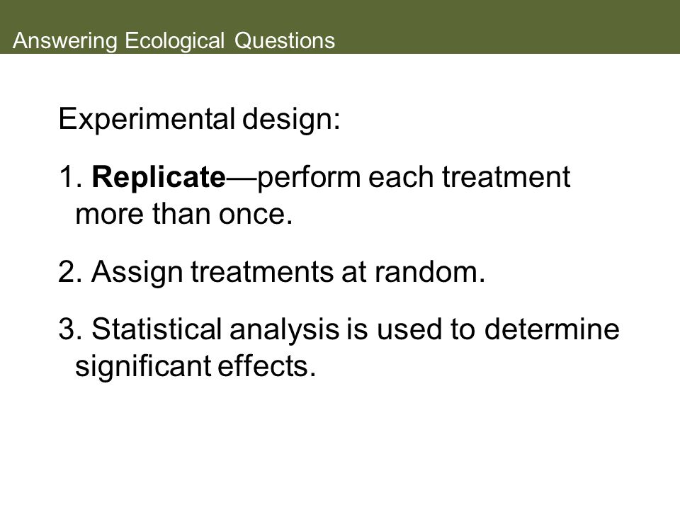 Answering Ecological Questions