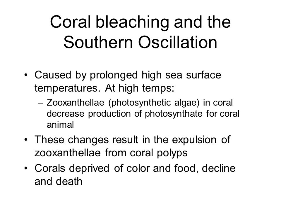 Coral bleaching and the Southern Oscillation