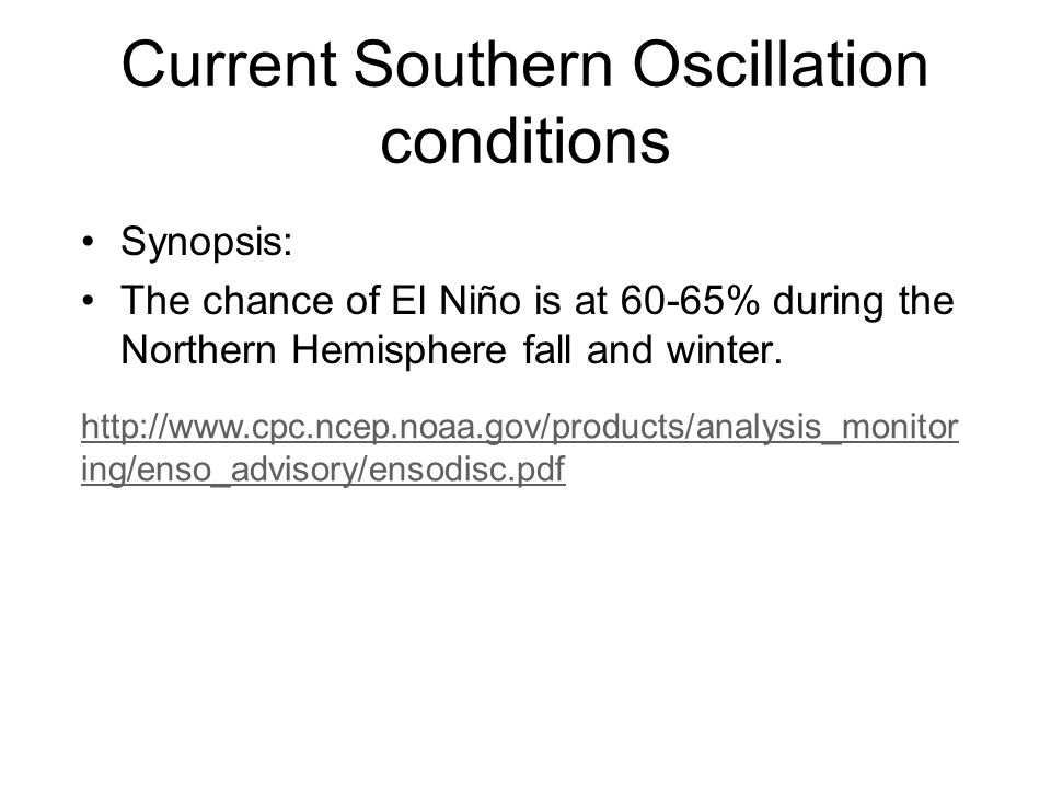 Current Southern Oscillation conditions