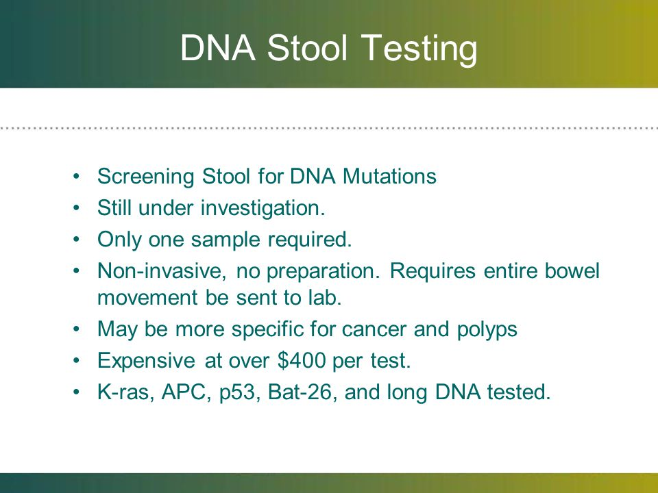 DNA Stool Testing Screening Stool for DNA Mutations