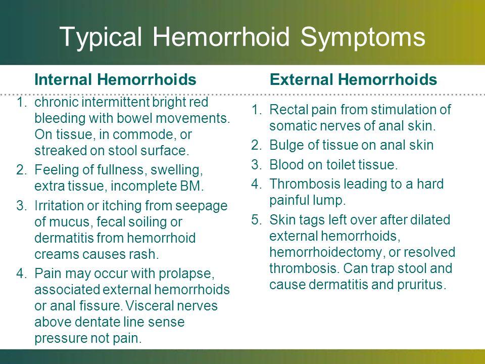 Typical Hemorrhoid Symptoms