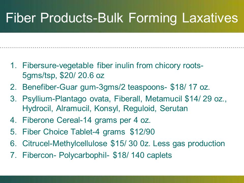 Fiber Products-Bulk Forming Laxatives