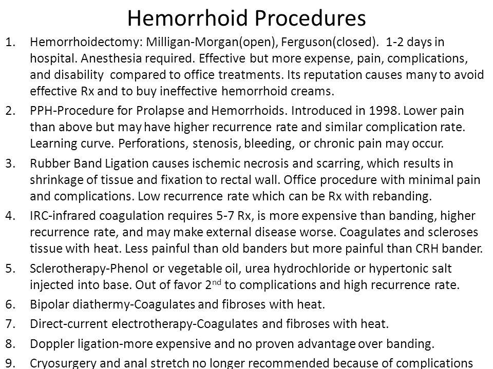 Hemorrhoid Procedures