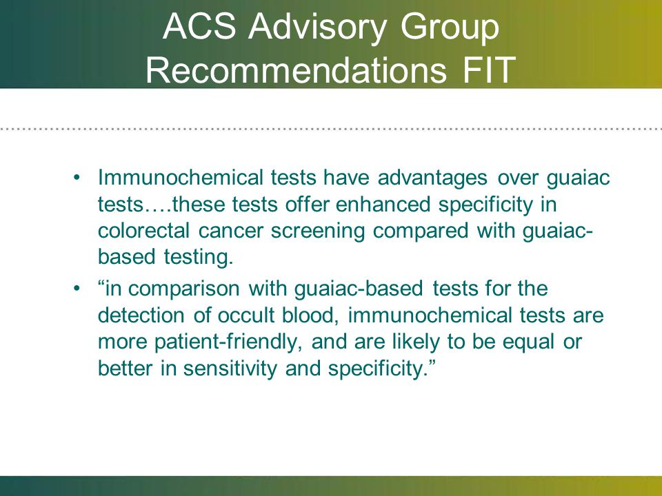 ACS Advisory Group Recommendations FIT