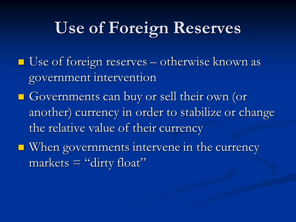 Use of Foreign Reserves