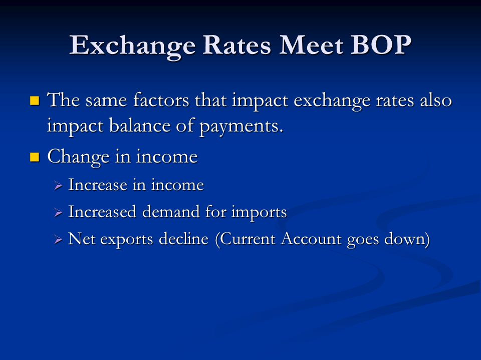 Exchange Rates Meet BOP