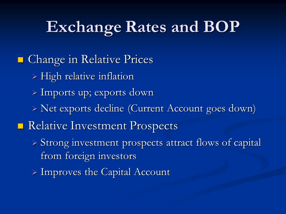 Exchange Rates and BOP Change in Relative Prices