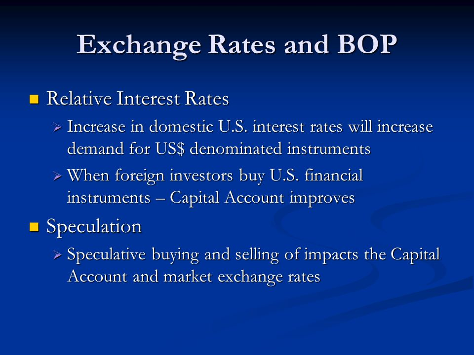 Exchange Rates and BOP Relative Interest Rates Speculation