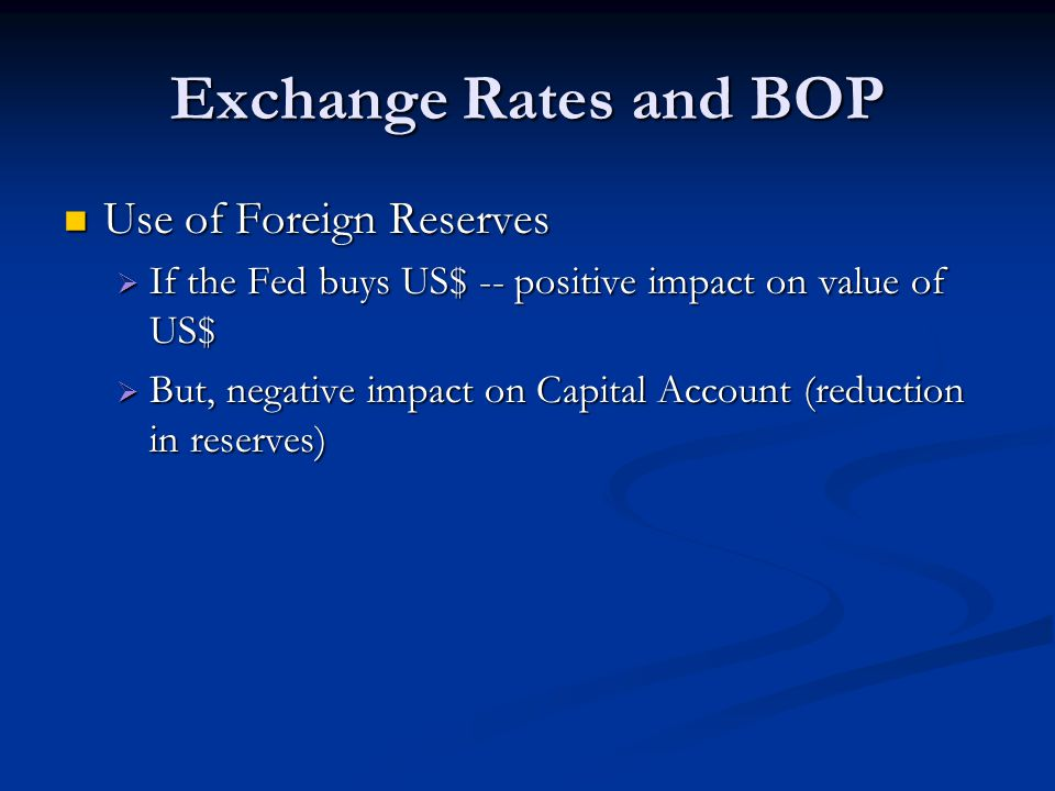 Exchange Rates and BOP Use of Foreign Reserves