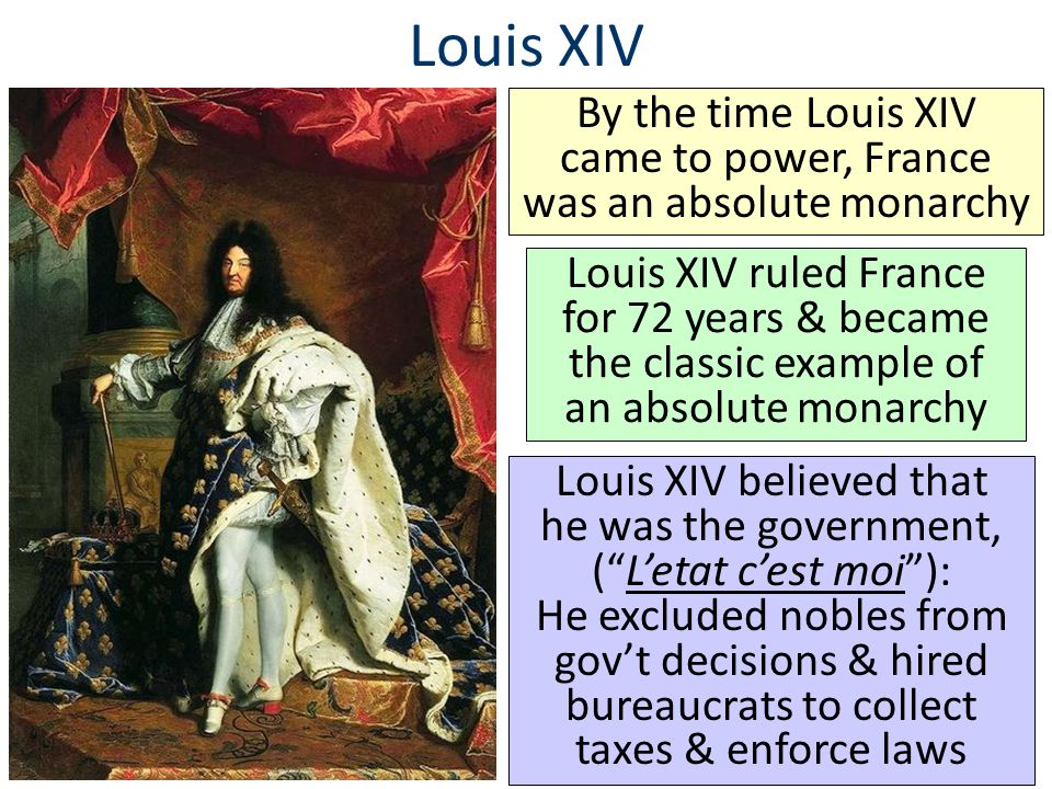 By the time Louis XIV came to power, France was an absolute monarchy