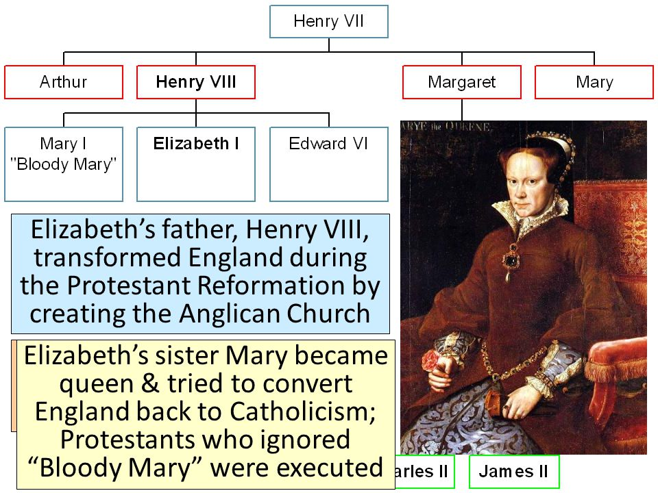 Elizabeth's father, Henry VIII, transformed England during the Protestant Reformation by creating the Anglican Church