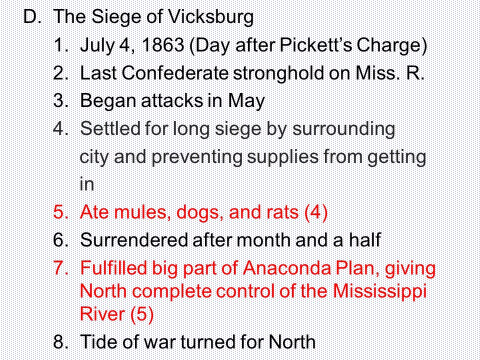 D. The Siege of Vicksburg