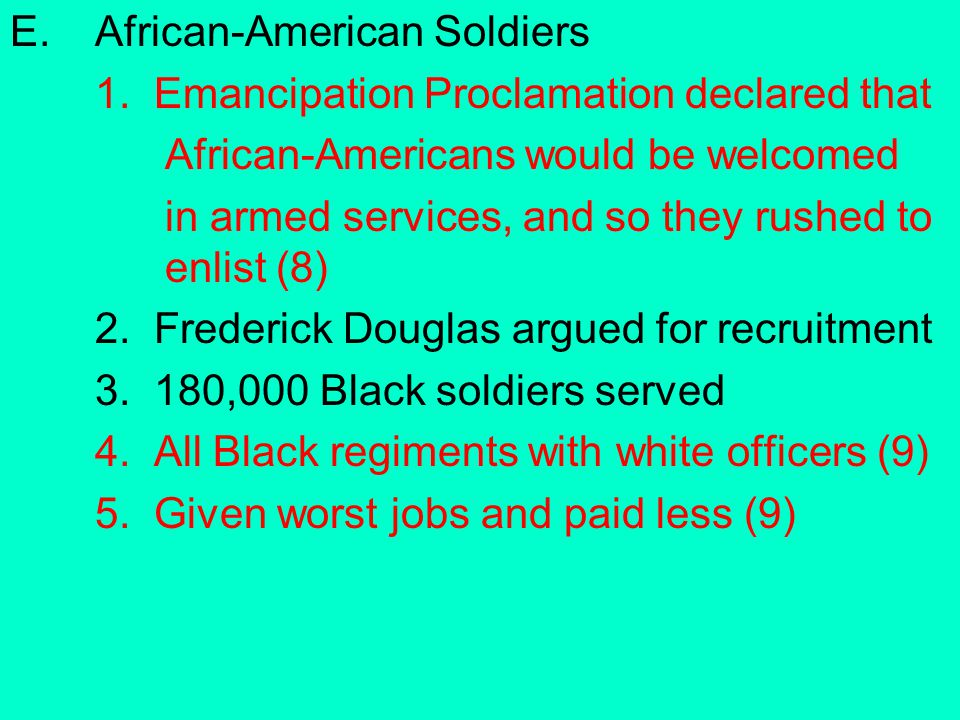 E. African-American Soldiers