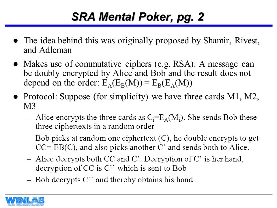 SRA Mental Poker, pg. 2 The idea behind this was originally proposed by Shamir, Rivest, and Adleman.