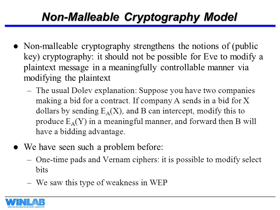 Non-Malleable Cryptography Model