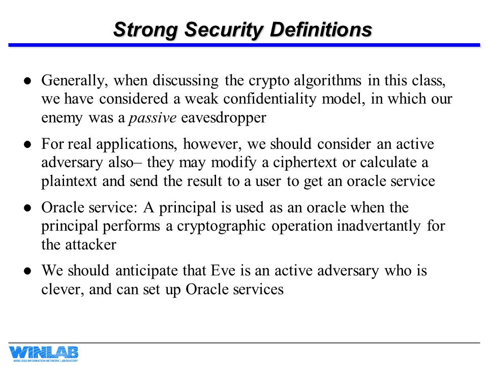 Strong Security Definitions