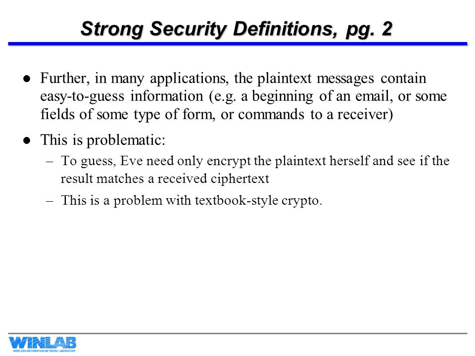 Strong Security Definitions, pg. 2