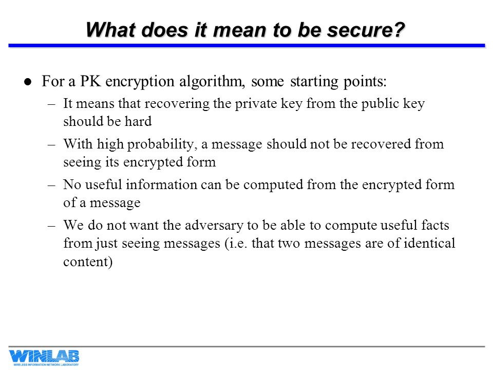 What does it mean to be secure