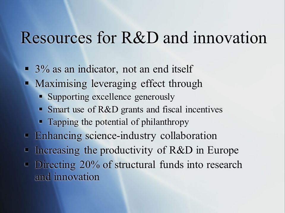 Resources for R&D and innovation